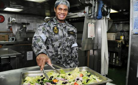 Able seaman Veniasi Turuva on board HMAS Melbourne.