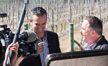 Judges Josh Emett and Simon Gault, filming Masterchef in Hawkes Bay.