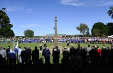 The large crowd at the Grafton Anzac Day service spreads right across Memorial Park. Photo: Adam Hourigan / The Daily Examiner