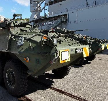 ARMOURED: The last large-scale army/navy gathering in Napier was nearly two years ago when HMNZS Canterbury carried this fleet of Light Armoured Vehicles destined for exercises.