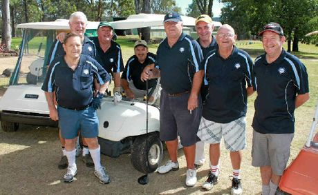 (From left) Don Hinds, Peter Burns, Ian Free, Mick Murphy, Pat Maguire, Mike Felsman, Ian McKenzie and Jim Elliott from The Grove Sports Club at the Warwick Golf Club on Sunday.
