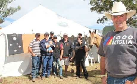 TERRITORIANS: (foreground) Ray Cook with his fellow Northern Territorians (from left) Grant Clarke, Gavin Howie, Wade Howie, Tyson Armstrong, Steve Nolan, Brenton 'Crasher' Ascoli, Greg Thompson Lauren Howie and Cream Puff the horse.