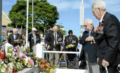 Mick O'Reilly laid a wreath for the fallen during the Anzac Day service in Maclean yesterday.