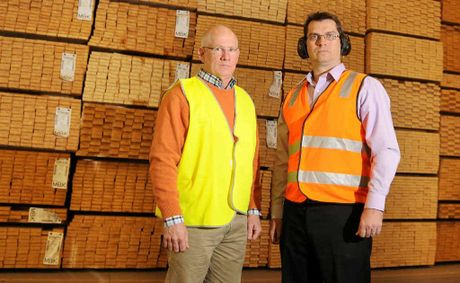 TOUGH TIMES: Hyne Mary Valley CEO Chris Robertson (left) and state CEO Shane Robertson at the Imbil mill yesterday, where 20 more jobs will be cut.