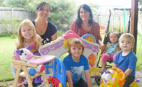 TO MARKET: Operators of the new North Coast Kids and Babies Market to be held at Lennox Head, Liz Denley (back, left) and Anna Wallace (back, right), with their children (from left) Heidi, Tate, Solia and Ben.