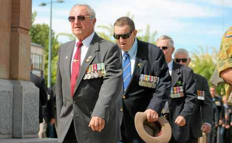 Return service men experience sunshine as they march as part of the Diggers' Column in the Anzac Day parade, but not before experiencing the fog the early morning dawn service had to offer.