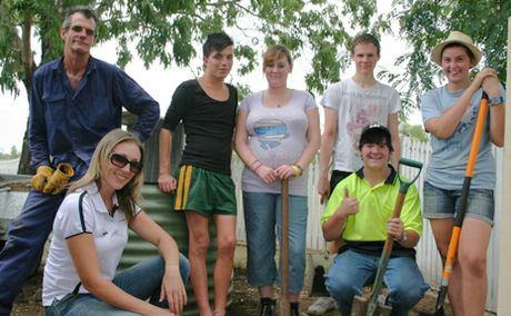 HELPING HAND: Get Set for Work students, Hayden Thompson, Katie Brady, Patrick Bergin, Joshua Chalk and Olivia Liebig, have been busy moving a vegetable garden for Wahroonga Retirement Village residents.