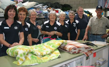 HIGH HOPES: Biloela St Vincent De Paul store manager Miranda Davis and store volunteers Anna Boyd, Val de Git, Anne Rutten, Trish Bonnell, Lina Adornato, Steve Christopher and Peter Rutten hope a spate of incidents at the store will stop in time for their winter appeal.