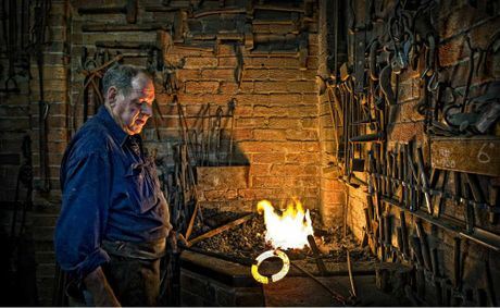Blacksmith Eoin McSwan of South Grafton works the forge in his workshop. Mr McSwan will be holding blacksmithing demonstrations near the main pavilion at the Grafton Show next Friday and Saturday.