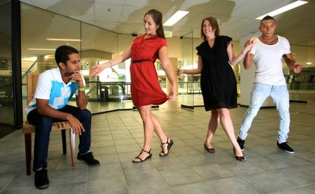 Juan Carlos Medina, Cindy May, Kylie Madden and Gabriel Osorio are looking forward to salsa dancing and getting more men involved in the class.