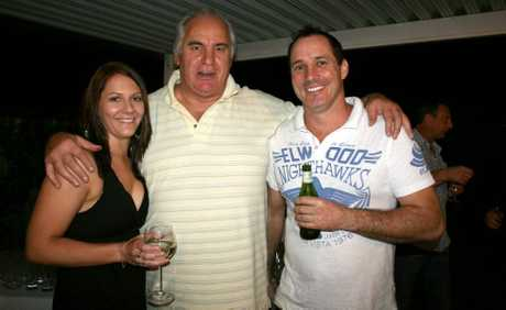 "Amanda Hinze, lambassador Sam Kekovich and Reon Felsman ""lambing"" it up."