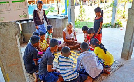 Alissa Marshall teaching as part of the Opportunity Cambodia project.