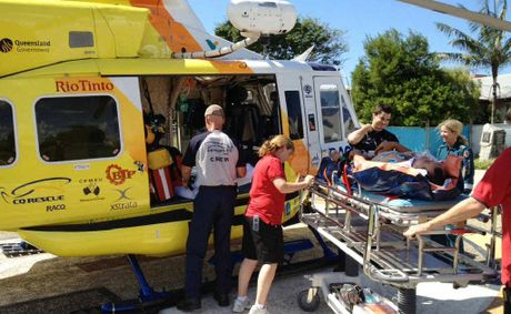 A Hayman Island employee was airlifted by the RACQ-CQ Rescue helicopter to Mackay Base Hospital yesterday after a buggy accident.