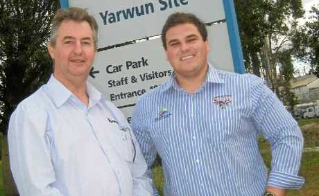 Orica site manager Stewart Wotton and Capras CEO Brenton Williamson.