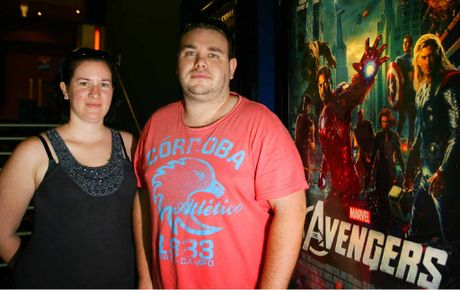 Rockhampton's Sara and Luke Petersen walk out of a screening of The Avengers at Rockhampton's Birch Carroll and Coyle Cinemas yesterday.