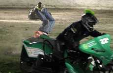 """Through the lens of my camera I followed a green sidecar ridden by Chris Lane as it came off the racetrack and hit the infield, crossing up on the damp grass. As I tracked it a photographer came into frame. He was swept up by the sidecar and flipped head over heels, landing stunned on the ground, his lens in two pieces not far from where he lay. For the technical geeks, the photos were shot with an iso of 5000, 160th of a second at F2.8, without flash from the centre of the infield.""  - Glenn Taylor"