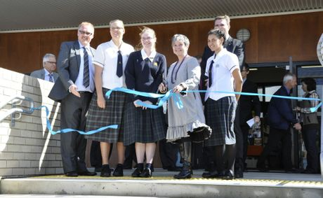 At the official opening of the new resource centre at the Darling Downs Christian School are (from left) Principal Adrian Fitzpatrick, Elise Craig, Jenna-Lee Charles, Senator Claire Moore ,Trevor Watts and Hannah Duncan.
