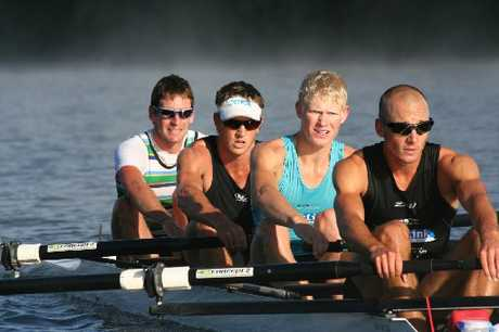 PULLING FOR THE GAMES: Rower Curtis Rapley (right) and his men&#39;s lightweight four crewmates Duncan Grant (rear) Graham Oberlin-Brown and James Lassche.