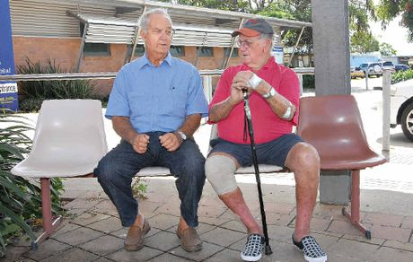 Sarina residents Rufus Zurvas (left) and John Hennegan regularly catch a bus to and from Mackay Base Hospital so they can receive kidney dialysis treatment.