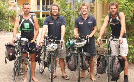 RIDING FOR A CAUSE: Tim Holman, Aaron Turner, John Clark and Daniel Seehusen spent a few days in Airlie Beach last week before continuing their gruelling London to Melbourne Bike trek.