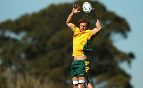 Scott Higginbotham of the Wallabies takes a lineout ball during an Australia IRB Rugby World Cup 2011 captain&#39;s run at The Trusts Stadium on September 10, 2011 in Auckland, New Zealand. 