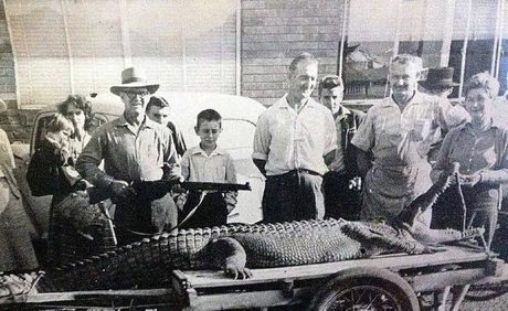 The crowd gathered to see the big saltwater croc that was hunted down and killed in 1964 in the Mary River.