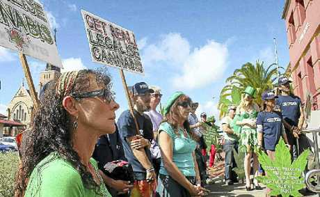 END PROHIBITION: Protesters gathered outside the Lismore Courthouse on Tuesday, calling for an end to cannabis prohibition.