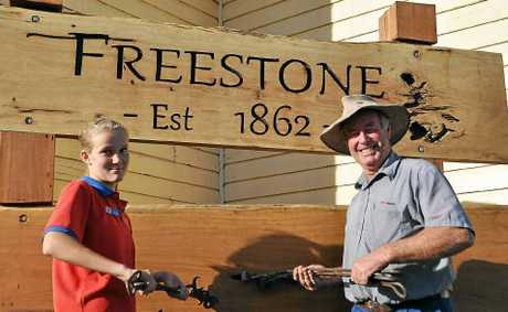 As part of the Freestone 150th celebrations Hannah Briggs and Alan Payne will burn their brands into the branding post that has been erected in honour of the occasion.