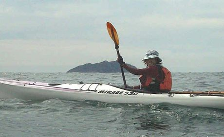 April kayaking the eastern side of Great Keppel looking towards Barren Island.