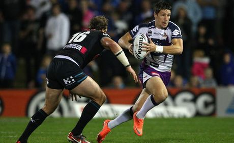 Gareth Widdop of the Storm runs the ball during the round nine NRL match between the Penrith Panthers and the Melbourne Storm at Centrebet Stadium