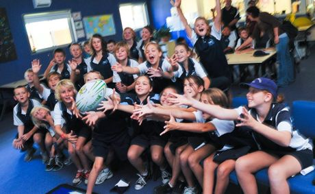 Sandy beach public school has a live hook up with Manly Sea Eagles rugby league footballers.