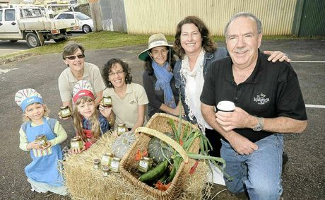 Local growers are hoping to get a farmers' market running in Alstonville. Supporters (from left) are Rebecca, 4, Phyllis, 7, Samantha Green, Monica Martignani, organiser Justine Lucas and Jos Webber.
