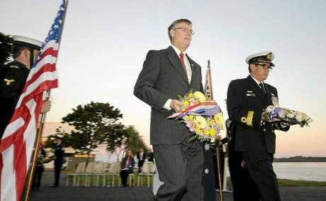 US Consul General Niels Marquardt and Commodore Geoff Geraghty lay wreaths commemorating the 70th anniversary of the Battle of the Coral Sea.