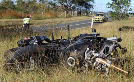 The wreckage of the motorcycle the Cannonvale man was riding when he crashed on Crystal Brook Rd, near Proserpine.