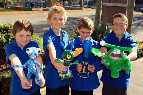 ALIEN INVASION: Eight-year-old Fenwick School pupils (from left) Quinn Bartlett, Quaid Fincham-Wells, Chevron Higgan-MacKay and Kas Rawson show off some alien creations. PHOTO/REBECCA RYAN