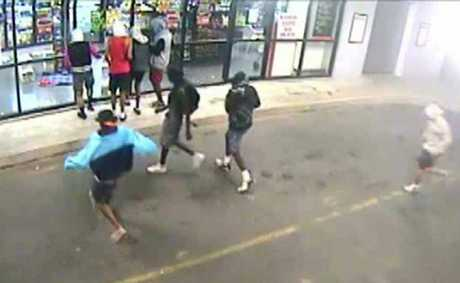 CAUGHT ON CAMERA: Dramatic still from CCTV footage shows youths smashing into the Post Office Hotel.