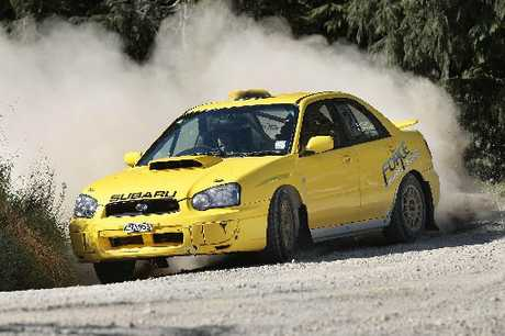 VICTORY AGAIN: Subaru driver Ben Thomasen on his way to winning the Macdougall Quarry Rd hillclimb on Sunday.