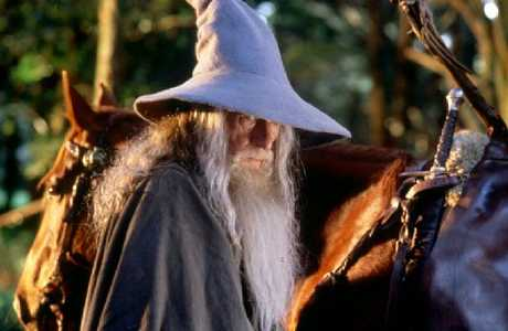 "Sir Ian McKellen (here as Gandalf the Grey) was not impressed with John Key's ""gay"" remarks."