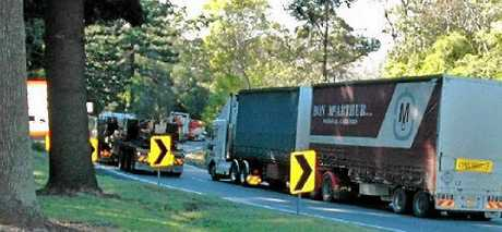 HAZARDOUS: Hundreds of trucks converse the Toowoomba Range every day. Its a trip that can be made dangerous during wet conditions with oil and fuel causing heavy vehicles to slip on the steep grade.