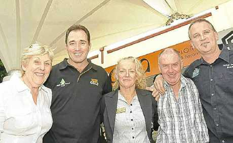 READY FOR THE MUSIC: Ballina Coastal Country Music Festival organiser Carol Stacey, with licensed venue representatives (from left) Gavin Fensom from the Australian Hotel, Vicki Veitch from the Ballina RSL Club, Brendan Byrne from the Shaws Bay Hotel and Graham Wear from the Hotel Henry Rous. Absent: Representative from the Westower Tavern.