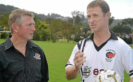 GUEST STAR: Lismore Richmond Rovers coach Brian Bugden (left) has a chat with former Socceroo Craig Moore about this week's big clash with Goonellabah FC. Moore will play for Rovers in a guest appearance.