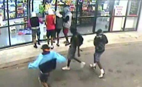 CCTV footage shows a group of youths breaking into the Post Office Hotel.