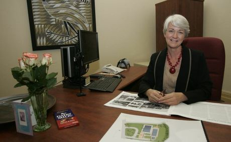 Mayor Margaret Strelow sitting behind the desk in her office after official announcement of her election. Rockhampton election update.