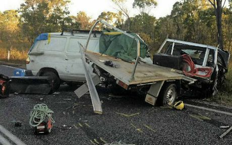 A Mackay man, the driver of this van, was killed in four-vehicle smash about 15km north of Miriam Vale yesterday.
