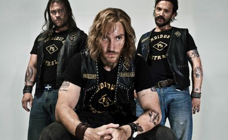 From left, Luke Hemsworth, Callan Mulvey and Damian Walshe-Howling star in the TV mini-series Bikie Wars: Brothers in Arms.
