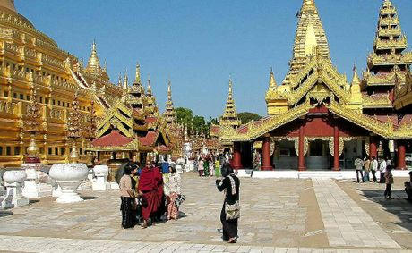 Golden temples are a feature throughout Myanmar, where the people are devout Buddhists.