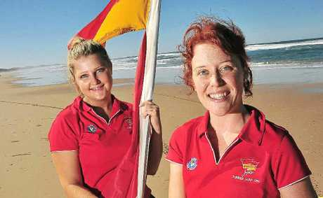 Jupiters Summer Surf Girl entrants Alicia Tickner from Marcoola, left, and Shannyn Lovell from Peregian.