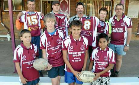 Eastern Suburbs players (front, from left) Robert Wagner, Jack Olive, Brendan Hoffman, Jaylen Close, (back) sponsors David Bennett (Southern Downs Plant Training), Brendan Burges (Warwick's Famous Pie Shop), Tim McCudden (Great Escavations), Louise and Ken Peck (Norco Milk).