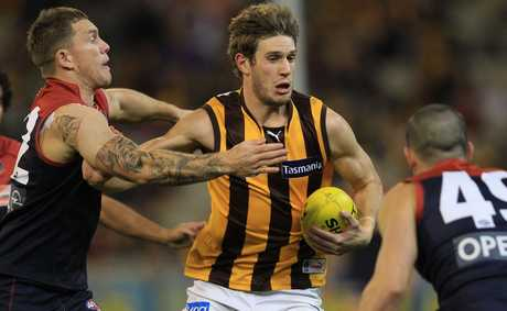 Grant Birchall of the Hawks in action during the round seven AFL match between the Melbourne Demons and the Hawthorn Hawks at the Melbourne Cricket Ground