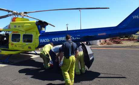 RACQ rescue chopper picks up two men a Clermont.